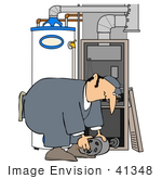 #41348 Clip Art Graphic Of A Man Bending Over While Repairing A Furnace