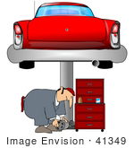 #41349 Clip Art Graphic Of A Man Bending Over While Working Under A Car In A Garage