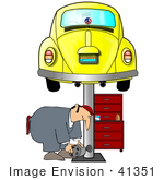 #41351 Clip Art Graphic Of A Mechanic Working Under A Yellow Slug Bug Vw Car On A Lift In A Garage