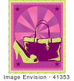 #41353 Clip Art Graphic Of A Fashionable High Heel Shoe And Purse On A Pink Background