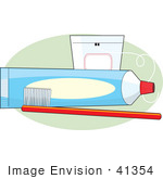 #41354 Clip Art Graphic Of A Tube Of Toothpaste And Floss With A Red Toothbrush