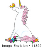 #41355 Clip Art Graphic Of A Pink And White Unicorn Sitting In Flowers A Butterfly On Its Nose