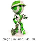 #41356 Clip Art Graphic Of A 3d Green Ao-Maru Robot Working In A Construction Zone With A Shovel