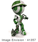 #41357 Clip Art Graphic of a 3d Green AO-Maru Robot Construction Worker Looking Up While Working With A Shovel by Jester Arts