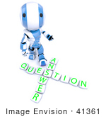 #41361 Clipart Illustration Of A 3d Blue Ao-Maru Robot Robot With Blocks Spelling Out Answer Question Looking Upwards