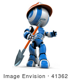 #41362 Clipart Illustration Of A 3d Blue Ao-Maru Robot Digging With A Shovel At A Construction Site