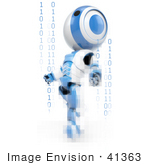 #41363 Clipart Illustration of a 3d Blue AO-Maru Robot Emerging Through Pixels And Binary Code by Jester Arts