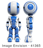 #41365 Clipart Illustration Of A 3d Blue Ao-Maru Robot Shown Facing Front And In Profile Facing Left