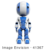 #41367 Clipart Illustration Of A 3d Blue Ao-Maru Robot Facing Front And Standing With His Arms At His Side