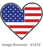 #41372 Clip Art Graphic Of An American Heart Flag
