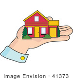 #41373 Clip Art Graphic Of A Little House In A Man'S Hand
