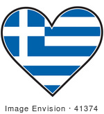 #41374 Clip Art Graphic Of A Greek Heart Flag