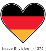 #41375 Clip Art Graphic of a German Heart Flag by Maria Bell