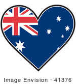 #41376 Clip Art Graphic Of An Australia Heart Flag
