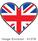 #41378 Clip Art Graphic Of A Union Jack Heart Flag