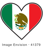 #41379 Clip Art Graphic of a Mexican Heart Flag by Maria Bell
