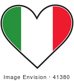 #41380 Clip Art Graphic Of An Italian Heart Flag