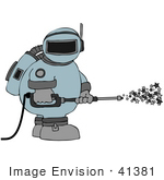 #41381 Clip Art Graphic Of An Astronaut Spraying Stars With A Pressure Washer