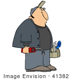 #41382 Clip Art Graphic Of A Bored Gas Man Carrying His Tools