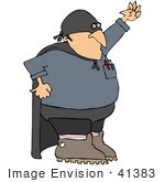 #41383 Clip Art Graphic Of A Cool Gas Man In A Cape And Super Hero Costume