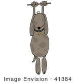 #41384 Clip Art Graphic Of A Stuck Dog Hanging From A Cable