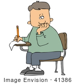 #41386 Clip Art Graphic Of A School Boy Nibbling His Nails And Trying To Complete His Test