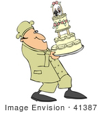 #41387 Clip Art Graphic of a Chef Carefully Carrying A Tall Wedding Cake by DJArt