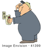 #41399 Clip Art Graphic Of A Gas Man Plugging In A Co Detector Into A Socket