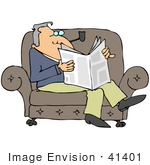 #41401 Clip Art Graphic Of A Man Reading The News And Smoking A Pipe On A Sofa