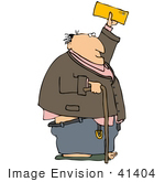 #41404 Clip Art Graphic Of A Man With His Pants Falling Down Holding A Check
