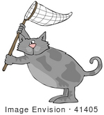 #41405 Clip Art Graphic Of A Gray Cat Holding A Net