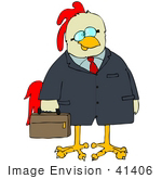 #41406 Clip Art Graphic Of A Chicken In A Suit Carrying A Briefcase