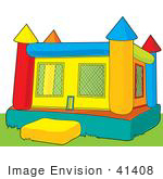 #41408 Clip Art Graphic of a Bounce Castle On Grass In A Park by Maria Bell
