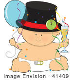 #41409 Clip Art Graphic Of A New Year'S Baby
