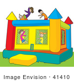 #41410 Clip Art Graphic Of Kids Having Fun In A Bounce Castle In A Park