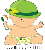 #41411 Clip Art Graphic Of A St Patricks Day Baby