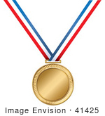#41425 Clip Art Graphic of a Golden First Place Medal On A Red, White And Blue Ribbon by Maria Bell