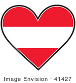 #41427 Clip Art Graphic Of A Red And White Striped Austria Heart Flag