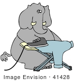 #41428 Clip Art Graphic Of A Dry Cleaner Elephant Ironing A Blue Shirt