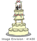 #41430 Clip Art Graphic Of A Three Tiered Wedding Cake Adorned With Pink Flowers And A Bride And Groom Topper