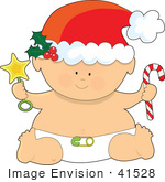 #41528 Clip Art Graphic Of A Christmas Baby