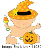 #41530 Clip Art Graphic Of A Halloween Baby