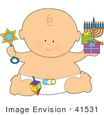 #41531 Clip Art Graphic Of A Chanukah Or Hanukkah Baby