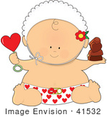 #41532 Clip Art Graphic Of A Valentine'S Day Baby