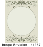 #41537 Clip Art Graphic Of A Blank Circle On A Beige And Green Vine Background