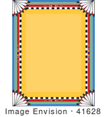 #41628 Clip Art Graphic of a Feathered And Colorful Native American Border Over A Yellow Background by Maria Bell