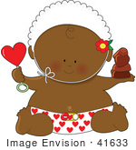 #41633 Clip Art Graphic Of An African American Valentine'S Day Baby