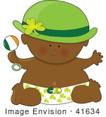 #41634 Clip Art Graphic Of An African American St Patrick'S Day Baby