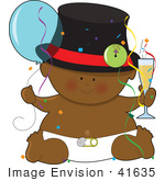 #41635 Clip Art Graphic Of An African American New Years Baby