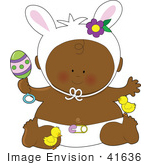 #41636 Clip Art Graphic Of An African American Easter Baby